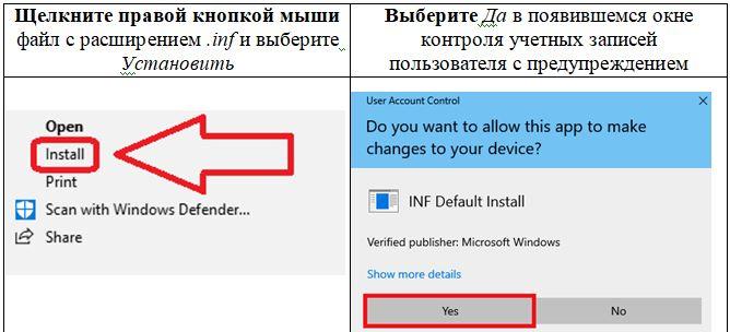 Инструкции по установке драйвера. Щелкните правой кнопкой мыши файл с расширением .inf и выберите Установить